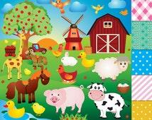 50% OFF SALE Farm animals,Farm animal Clipart,Farm Clipart barn horse pig cow truck sheep duck bird giraffe chicken clipart animals windmill