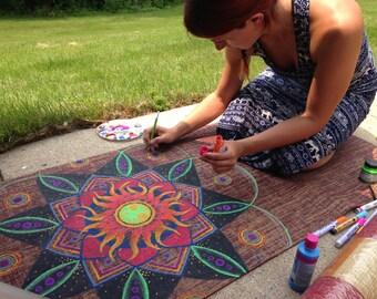 Yoga Mat- Handpainted Jute Fiber Sun Mandala Mat
