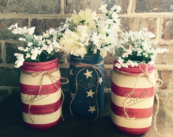 American Flag painted chalk paint mason jar vase set of 3 quart Ball 4th of July Memorial Day Veteran's Day Labor Day