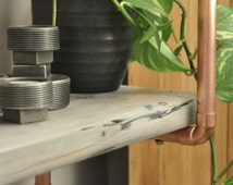 copper pipe double shelving unit. Hand made industrial vintage style. Reclaimed wood furniture. Rustic furniture.