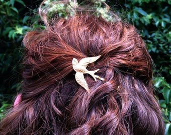 Gold Bird Hair Pin Gold Bobby Pin Gold Barrette Bird Bobby Pin Wedding Hair Pin Bird Barrette Hair Pins Bird Barrette Bridal Hair Pins