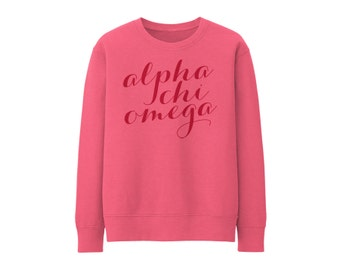 AXO Alpha Chi Omega Script Choose Your Colors Sorority Sweatshirt