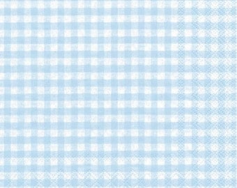 Light Blue Gingham Paper Napkins - Individual Packages or Case Discount for Decoupage or Parties - Lunch Beverage Vichy Light Blue