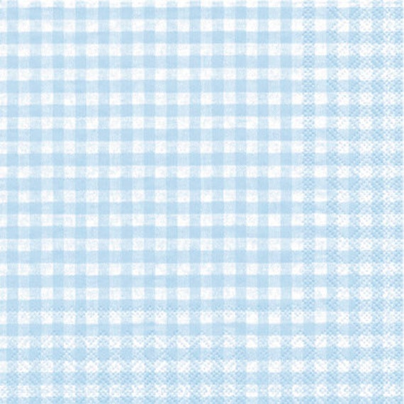 Light Blue Gingham Paper Napkins Individual Packages Or Case