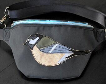 Fanny pack, bum bag, festival bag, bird bag, hip bag, lovely bag, titmouse, hands-free bag, gray