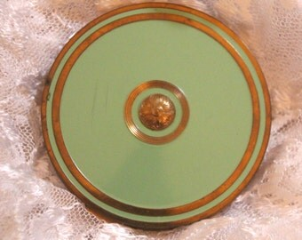 Vintage Green and Brass Powder Compact by Marie Earle-New York// 1940's