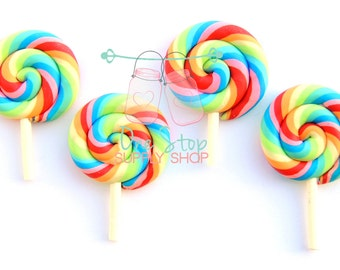 Lot of 5 Polymer Clay pastel rainbow # 2 lollipops party favors bows scrap booking