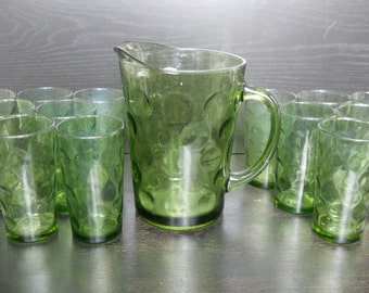 Green glass bubble pitcher with matching set of 10 glasses