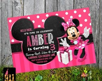 Minnie Mouse Printable Birthday Girl Invitation