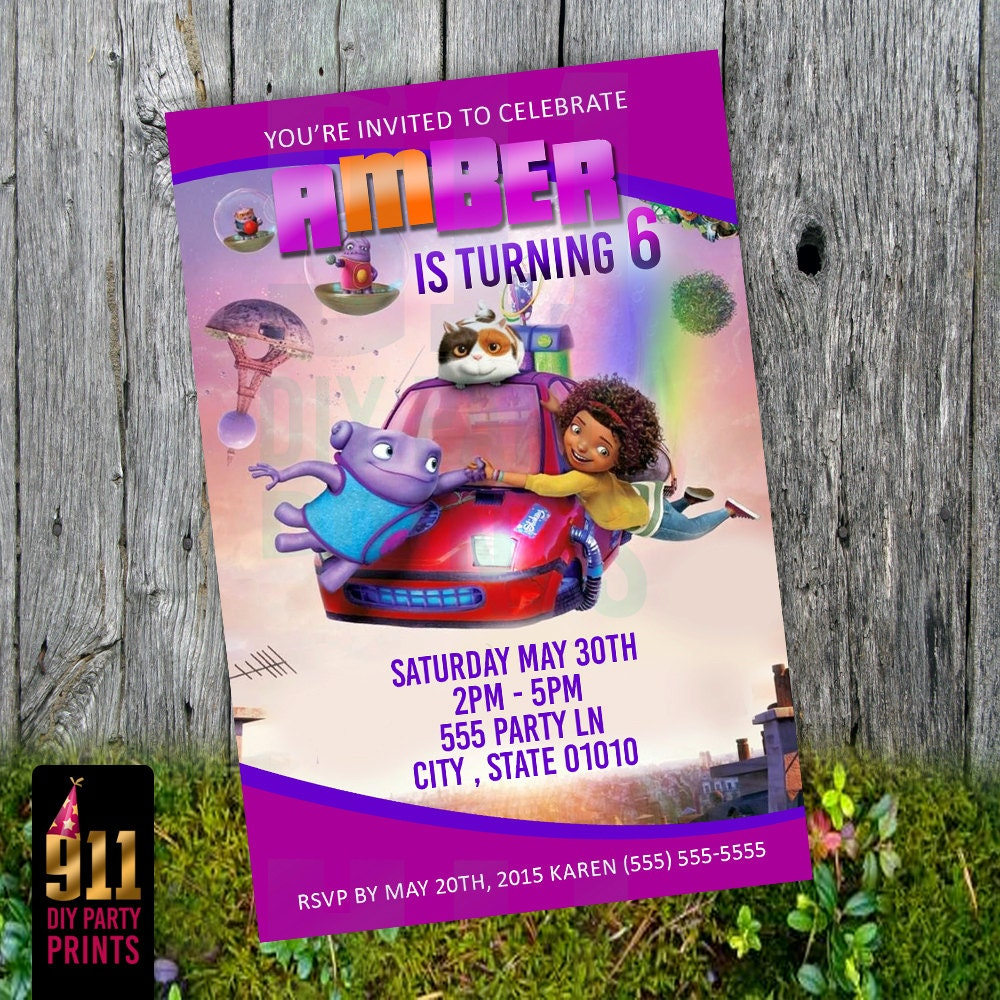 Dreamworks HOME Birthday Party Invitation Boov Tip