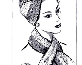 pdf 5063 Woman's TURBAN Twist HAT & SCARF Crochet Vintage Mail Order Pattern Crocheting Crocheted Cap