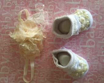 Preemie and Newborn 2 pc. set * Booties and Headband * Take me Home *Weddings*