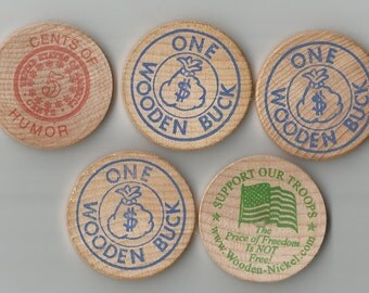 5 wooden nickles