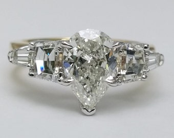 2.04 Carat Total Weight Pear Diamond Engagement Ring, Cadillac and Bullet Side Stones