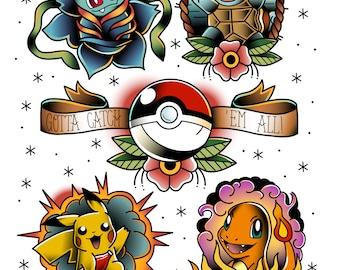 Pokemon tattoo print