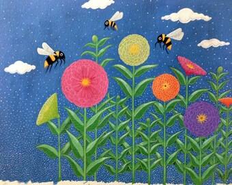 Bees visiting Zinnias