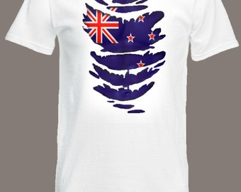 New Zealand Flag T-Shirt See Muscles through Ripped T-Shirt in all sizes