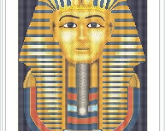 Tutankhamun golden mask cross stitch pattern. Ancient Egypt. History. King Tut.