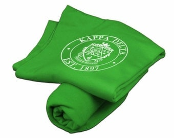 Kappa Delta Irish Green Sweatshirt Blanket - White Print