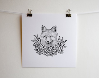 Fox and Leaves Illustration, Square Black and White Screen Print