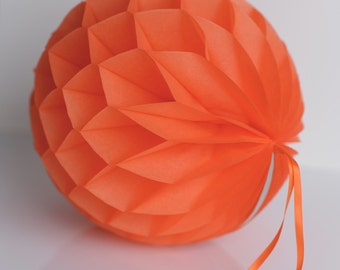 Orange Tissue paper honeycombs -  hanging wedding party decorations