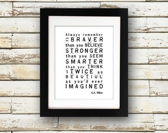 AA Milne Quote 5 x 7 or 8 x 10 PHYSICAL Wall Art Gift Poster Print Black White Modern Simple Always Remember Winnie the Pooh Delivered