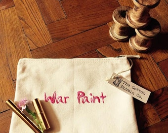 Make Up Bag Cotton Embroidered Cosmetic Bag - War Paint