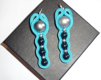 Blue earrings soutache