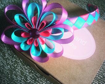 Purple, pink and blue headband