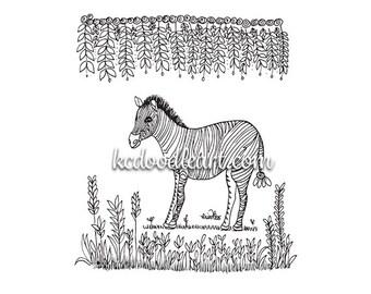Digital Printable Adult and children coloring page - zebra doodle