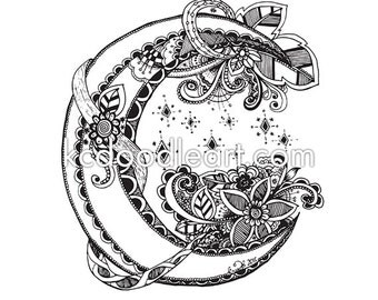 instant download adult coloring page half moon doodle - Dream Catcher Coloring Pages