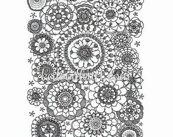 black and white instant digital download - mandala - flower shapes - adult coloring page