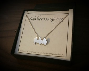 Sterling Silver Batman Necklace