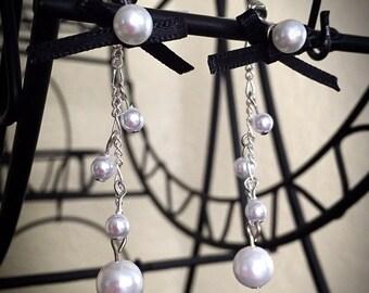 Pearl stud earrings & removable ribbon w / Pearl chain earring backs