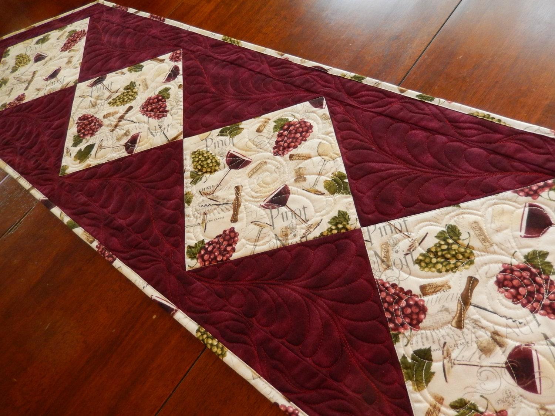 Wine Fabric Table Runner