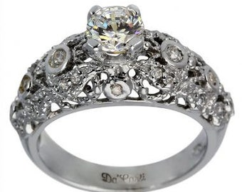Victorian Diamond Ring Antique Engagement Ring 0.75ct Set In 14k White Gold Ring