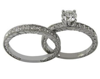 Diamond Wedding Set In 14k White Gold With Engraved Decoration & Milgrain Accent