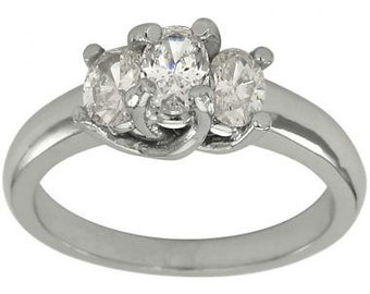 Three Stone Oval Diamond Engagement Ring In 14K White Gold With 1.40 Carat