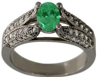 Emerald Oval In Diamond Pave Engagement Ring