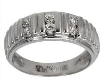 Classic Ridged Diamond Wedding Band 14Kt White Gold