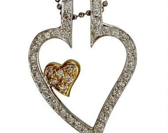 Heart Necklace Diamond Pendant Necklace With Two Diamond Hearts 14k Gold
