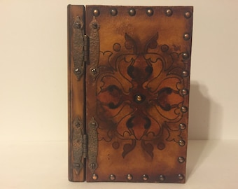 Antique Wood Book- Box / Storage / Jewelry Box / Jewelry Case / Box Files Archive