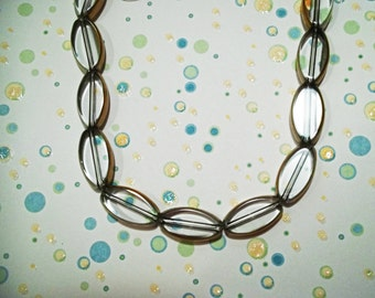 Clear Oval Glass Beads Outlined in Gold - DIY Jewelry Making