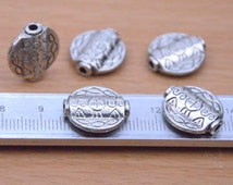 antique silver round tube beads supply.20pcs two-sided flat alloy links with grain on it finding,small silver links thin short tube design.