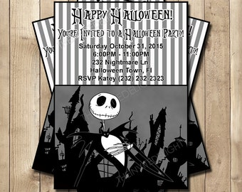 Nightmare Before Christmas Halloween Party Invitation - NBC Birthday Party Invite - Jack Skellington - Personalized Printable Invite