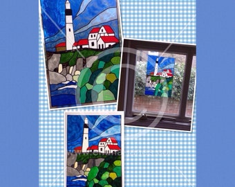 Lighthouse window cling, coastal scene hand painted for glass & mirror surfaces, faux stained glass effect reusable static cling decal