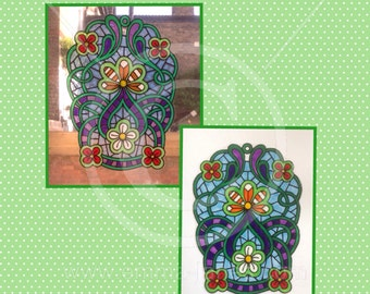 Floral decorative window cling panel, colourful flowers / swirls for glass & mirror surfaces, reusable decals, faux stained glass