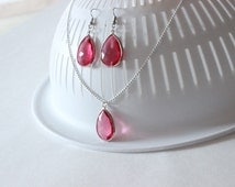 Pink Quartz necklace Hot Pink Jewelry set Bridal teardrop earrings Pink Quartz earrings Gemstone necklace Wedding jewelry set Gift for her