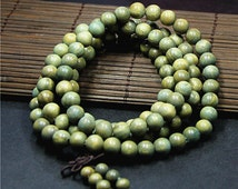 6mm/8mm Natural Nepal Green Sandalwood Beads 108 Mala Beads  Prayer Beads, Buddhism Beads,Meditation Prayer Beads Japa Mala Buddha