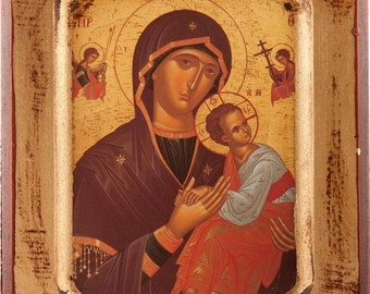 Our Lady Icon.Wooden Our Lady and Child Icon.Religious Icon of Our Lady and Jesus Christ.